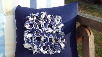 Blue Fabric Daisy close